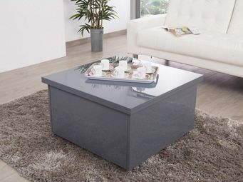 WHITE LABEL - table basse relevable extensible giani grise - Table Basse Carrée