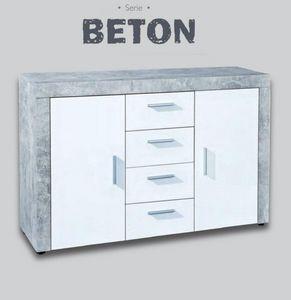 WHITE LABEL - buffet 2 portes et 4 tiroirs aspect béton et blanc - Buffet Bas