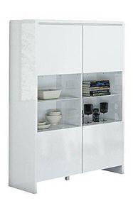 WHITE LABEL - vitrine bali blanche avec 2 portes - Buffet Haut