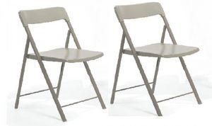 WHITE LABEL - lot de 2 chaises pliantes kully gris taupe - Chaise Pliante