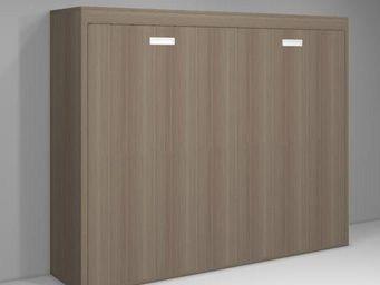 WHITE LABEL - armoire lit transversale agata couchage 140*18*190 - Lit Escamotable