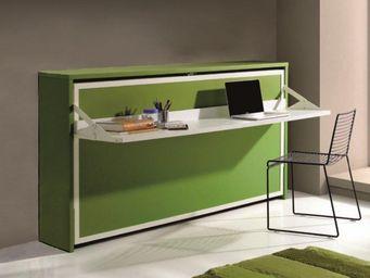 WHITE LABEL - armoire lit transversale city avec bureau intégré, - Lit Escamotable