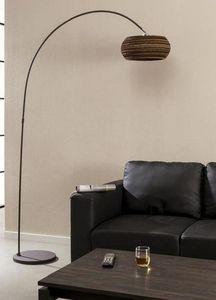 WHITE LABEL - lampadaire goliate design cylindre marron - Lampadaire