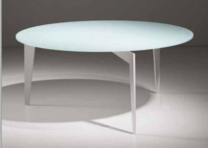 WHITE LABEL - table basse miky design ronde en verre blanc - Table Basse Ronde