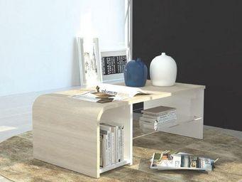 WHITE LABEL - table basse / meuble tv s-time design chêne sonoma - Table Basse Rectangulaire
