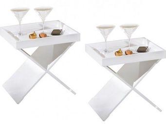 WHITE LABEL - lot de 2 tables d'appoints egon blanches en bois - Table D'appoint