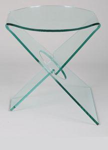 WHITE LABEL - celia bout de canapé en verre transparent - Bout De Canapé