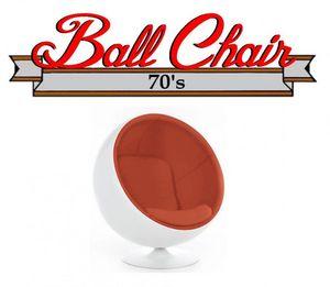 WHITE LABEL - fauteuil boule, ball chair coque blanche / intérie - Fauteuil