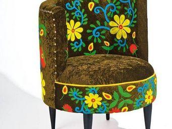 WHITE LABEL - fauteuil la paz marron et motifs � fleurs - Fauteuil
