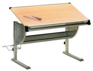 WHITE LABEL - bureau enfant avec plateau inclinable coloris bois - Bureau Enfant