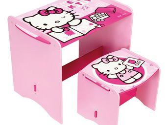 WHITE LABEL - petit bureau enfant avec tabouret rose hello kitty - Bureau Enfant
