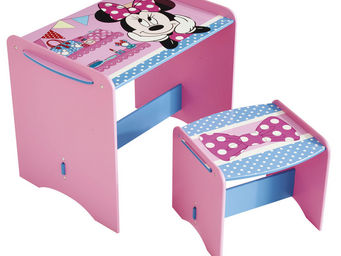 WHITE LABEL - bureau et tabouret enfant disney minnie mousse - Bureau Enfant