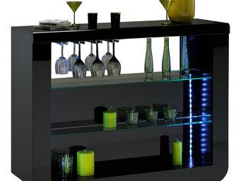 WHITE LABEL - meuble bar noir laqué design led - Meuble Bar