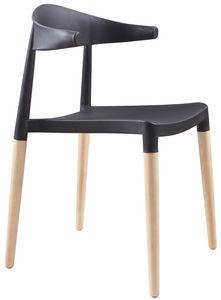 COMFORIUM - chaise coloris bois et noir design - Chaise