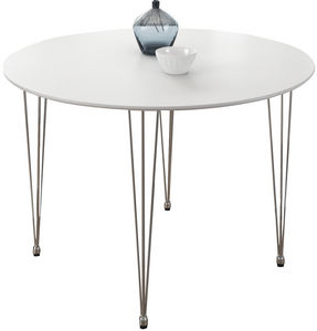 COMFORIUM - table design ovale 100 cm coloris blanc mat - Table De Repas Ronde