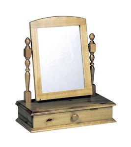COMFORIUM - miroir en pin massif pour coiffeuse à 1 tiroir ant - Miroir