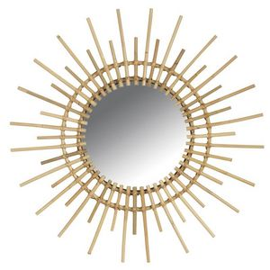 Aubry-Gaspard - miroir rotin vintage soleil - Miroir