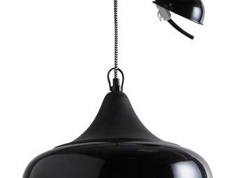 Aubry-Gaspard - lampe suspension en métal laqué et bois noir - Suspension