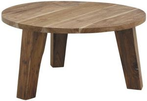 Aubry-Gaspard - table ronde en teck - Table Basse Ronde