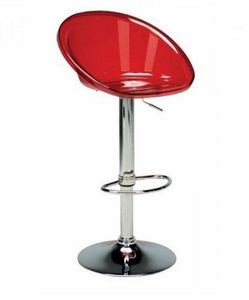 WHITE LABEL - chaise de bar sphere transparente rouge - Chaise Haute De Bar