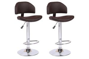 WHITE LABEL - lot de 2 chaises de bar deep similicuir marron - Chaise Haute De Bar