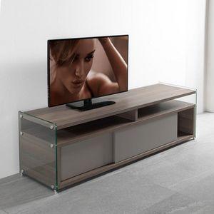 WHITE LABEL - meuble tv talac coloris orme avec 2 portes couliss - Meuble Tv Hi Fi