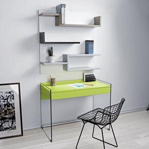 WHITE LABEL - bureau tokio 1 tiroir vert piétement en verre - Bureau