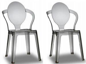 WHITE LABEL - lot de 2 chaises spot design fumée - Chaise