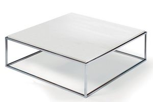 WHITE LABEL - table basse carré mimi xl blanc céruse structure c - Table Basse Carrée