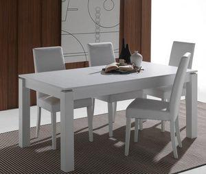WHITE LABEL - table repas extensible rialto blanche - Table De Repas Rectangulaire