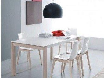 WHITE LABEL - table repas bio tech extensible blanche 230 cm - Table De Repas Rectangulaire
