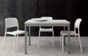WHITE LABEL - table repas extensible split blanche - Table De Repas Rectangulaire