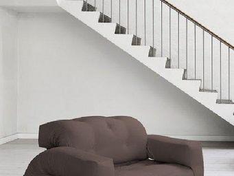 WHITE LABEL - fauteuil lit 2 places hippo futon marron couchage  - Fauteuil
