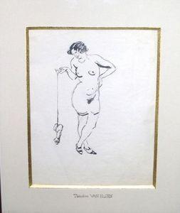 La Tour Camoufle - femme nue - Dessin À L'encre