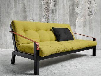 WHITE LABEL - canapé noir 3/4 places convertible poetry futon av - Canapé 3 Places