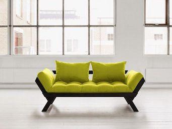 WHITE LABEL - banquette méridienne noire matelas futon bebop cou - Méridienne