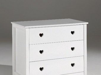 WHITE LABEL - commode amori blanche 3 tiroirs - Commode