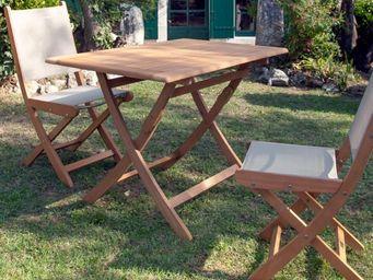 PROLOISIRS - table rectangulaire pliante look teck - Salle À Manger De Jardin