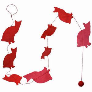 Lamali - guirlande chats en papier lokta 150cm rouge - Guirlande Enfant