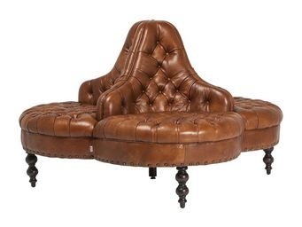 Kare Design - canapé rond saloon marron - Canapé 3 Places