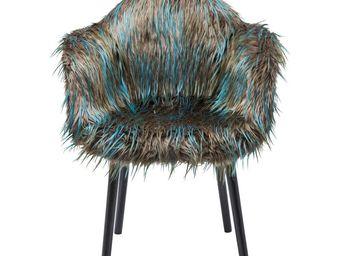 Kare Design - chaise avec accoudoirs yeti fur vert foncé - Chaise
