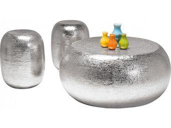 Kare Design - table basse design + tabourets antico - Table Basse Ronde