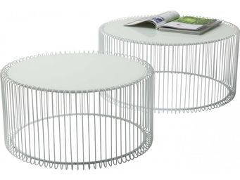 Kare Design - table basse ronde wire blanche 2/set - Table Basse Ronde