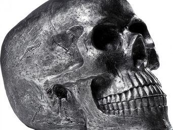 Kare Design - deco skull head antique argent - Statuette