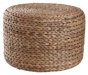 Aubry-Gaspard - pouf rond en jacinthe - Pouf