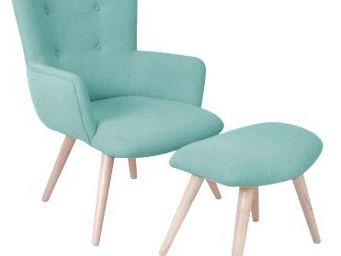 INWOOD - fauteuil avec repose pieds stockholm - Fauteuil Et Pouf