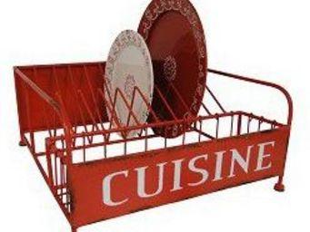 Antic Line Creations - egouttoir � vaisselle vintage rouge - Egouttoir