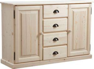 Aubry-Gaspard - meuble bois brut 2 portes 4 tiroirs - Buffet Bas