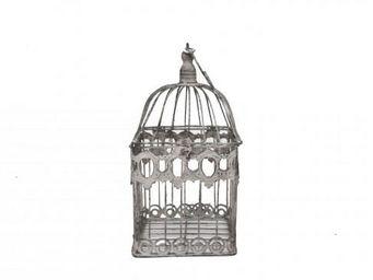 Demeure et Jardin - cage d�corative en fer forg� patin�e gris clair vi - Cage � Oiseaux