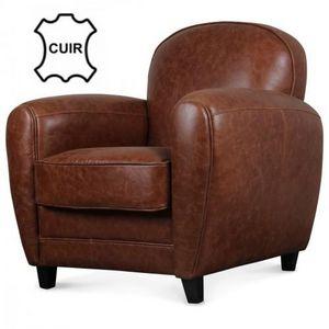 Demeure et Jardin - fauteuil club en cuir marron vintage industriel - Fauteuil